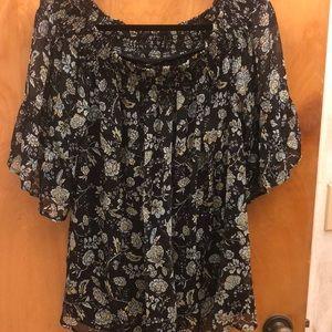 Black flowered off the shoulder shirt